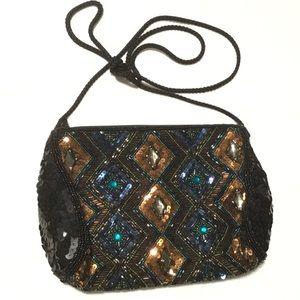 Handbags - Sequin crossbody purse, bronze/blue/turquoise